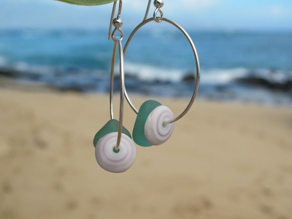 Teal Sea Glass and Puka Shell Earrings