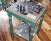 Green mosaic accent table