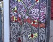 Flower vase mosaic window stained glass, Vintage Window, Window Home Decor, Glass Window Art, Garden Window, Wall Hanging, Vintage decor