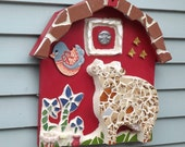 Mosaic 3 D Barn cow bird flowers butterfly moon