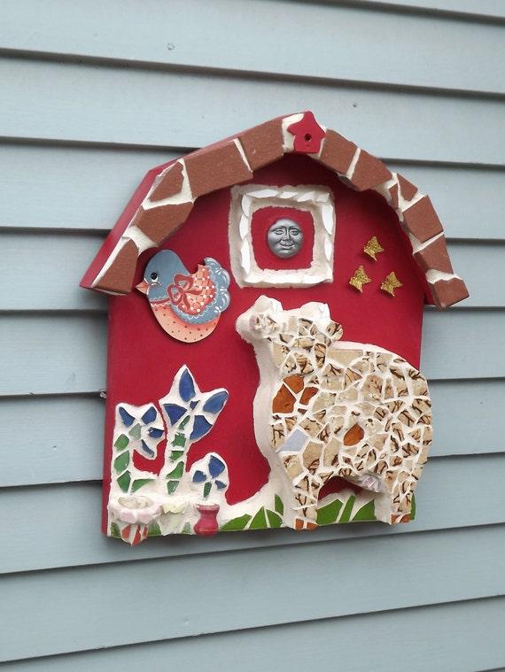 Mosaic 3 D Barn cow bird flowers butterfly moon