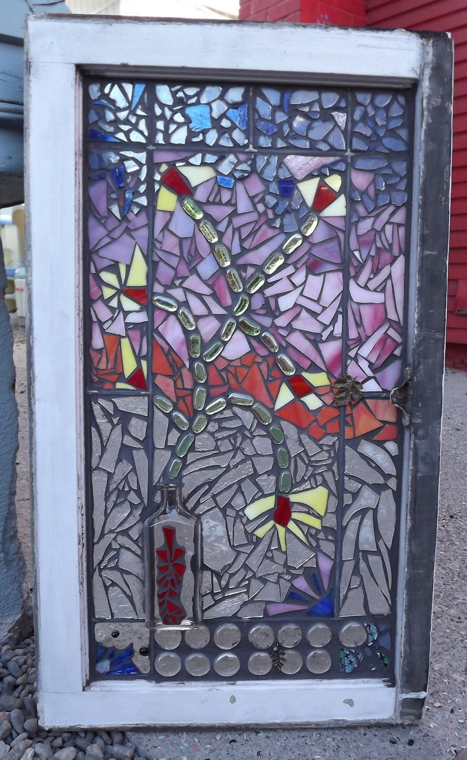 Flower Vase Mosaic Window Stained Glass Vintage Window