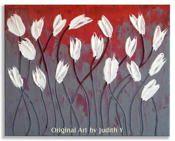 Original Impasto White Tulips on Red and Gray Painting