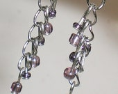 15% OFF SALE - dainty violet grey beads silver chain lightweight lycoris