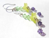 spring earrings - light green lucite flowers accented with purple and green crystal bicones spring time celebrations