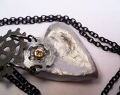 50% OFF SALE - hand sculpted clay heart with repurposed mechanical parts on black chain