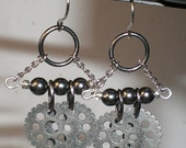 CYBER WEEK SPECIAL - metal cog gunmetal bead chandelier style dangle