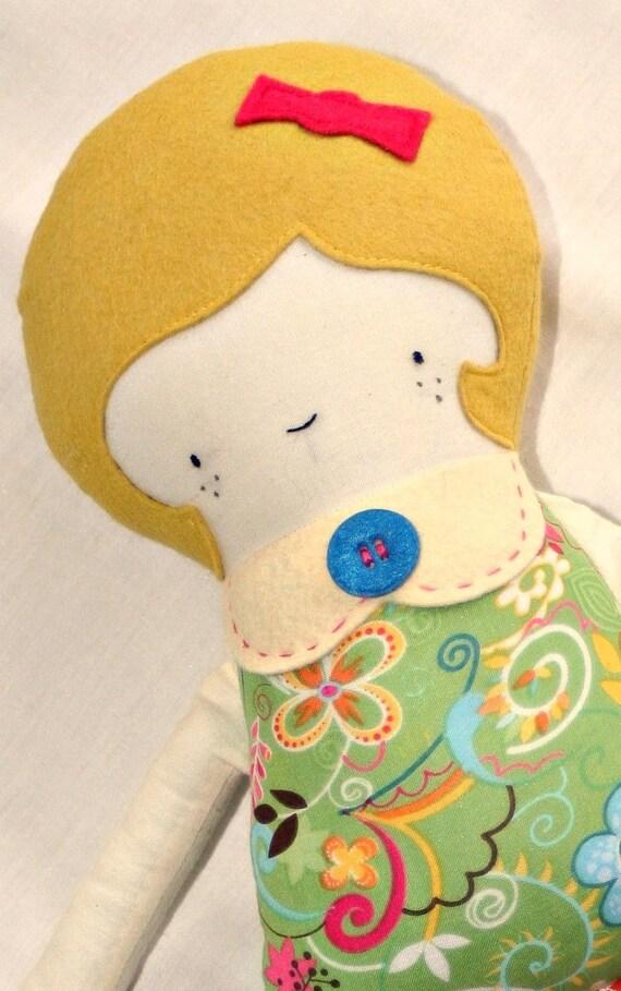 Rag Doll, Stuffed Doll, Cloth Doll, Fabric Doll, Softie, Plush Doll, Stuffed Toy, Handmade Doll, Doll, Ragdoll