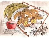 Original Watercolour Artwork from the Dirty Soul Food recipe book - Pisang Goreng