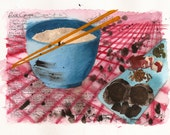 Original Watercolour Artwork from the Dirty Soul Food recipe book - Rice Congee