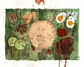 Original Watercolour Artwork from the Dirty Soul Food recipe book - Nasi Lemak