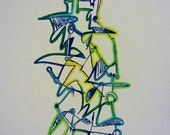 Immune System No.3 - Vivid Gocco Print with Colored Pencil: Blues, Greens, Yellows