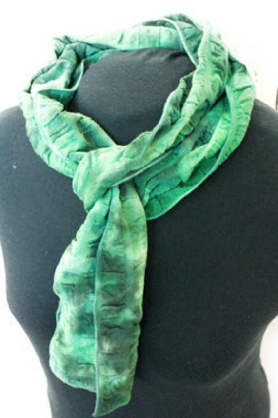 Green and black hand-dyed lightweight scarf cotton seersucker