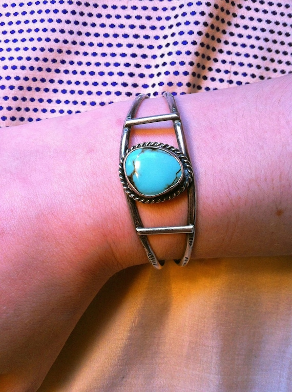Robin's Egg Blue Turquoise Sterling Silver Cuff Bracelet - Vintage Native American