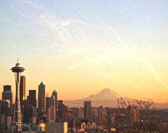 Seattle Photography Skyline Space Needle Mount Rainier Sunset 4x6 Fine Art Photography Print