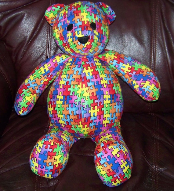 Autism Awareness Puzzle Print Bear