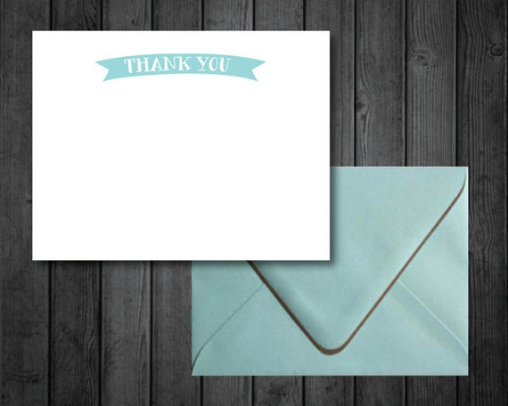 Turquoise Banner Thank You Card Note Set
