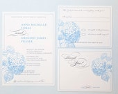 RESERVED for Jen - Blue Hydrangea Wedding Invitation