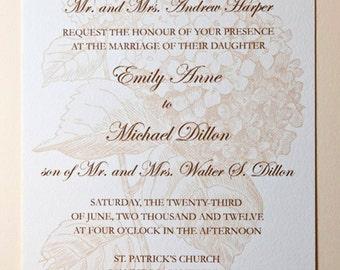 Ecru Hydrangea Wedding Invitation