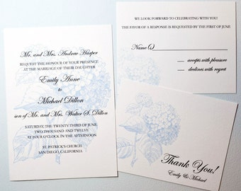 Blue Hydrangea Wedding Invitation Suite 2