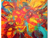 Original Flower/floral Art by Caroline Ashwood - Abstract and contemporary painting on box canvas - Ready to hang