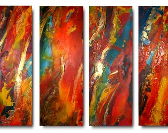 Original XL set of Art by Caroline Ashwood - Textured and contemporary abstract paintings on canvas - FREE SHIPPING