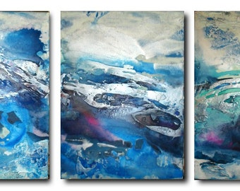 Original Triptych Seascape Art by Caroline Ashwood - Textured and contemporary abstract painting on canvas  FREE SHIPPING