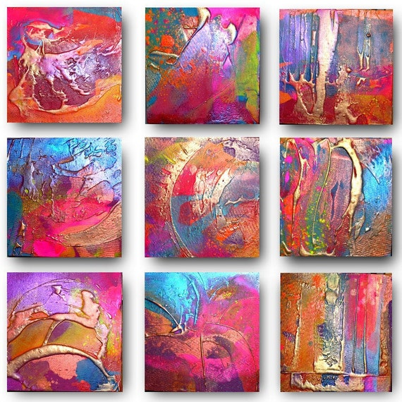 9 x Original Set of Art by Caroline Ashwood - Textured and contemporary abstract paintings on canvas - FREE SHIPPING