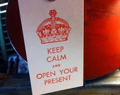 "6 Pack of Letterpress ""KEEP CALM..."" Gift &Wine Bottle Tags."