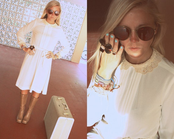 70's Folk Cream & Lace Dress