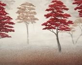 Autumn Forest Painting, Original Landscape Painting, Foggy Forest, Red Trees, Misty Fall Trees, Gray and Red, Grey, Trees, Acrylic 18 X 24