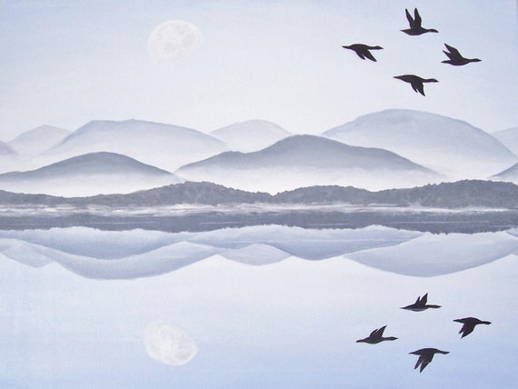 Original Landscape Painting, Misty Mountains, Morning Lake Painting, Blue Nature Art, Birds Flying, Original Acrylic Seascape 18 X 24