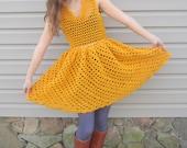 Yellow crochet dress, vintage style dress, mustard yellow, size small to medium