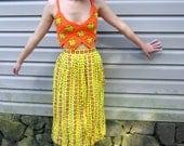 Neon crochet crop top shirt, retro, granny square, neon summer,  orange and green