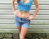 Crochet crop top, teal and purple granny square shirt