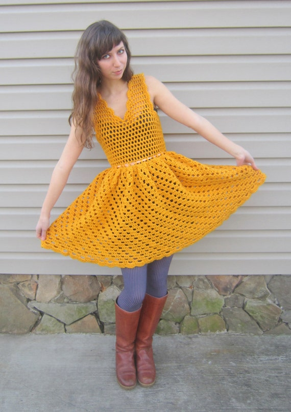 Items similar to Yellow crochet dress, vintage style dress ...
