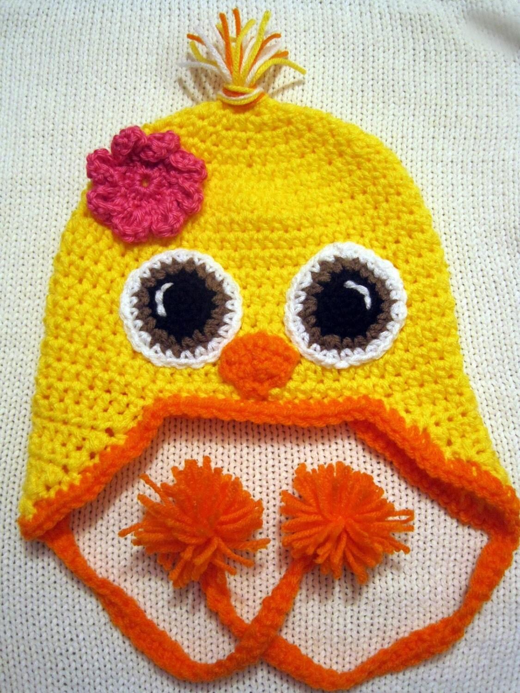 Newborn Crochet Chicken Hat Pattern : Yellow baby chick crochet hat with brown eyes