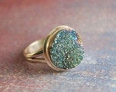 Druzy Ring - Blue with Sterling Silver Setting and Band
