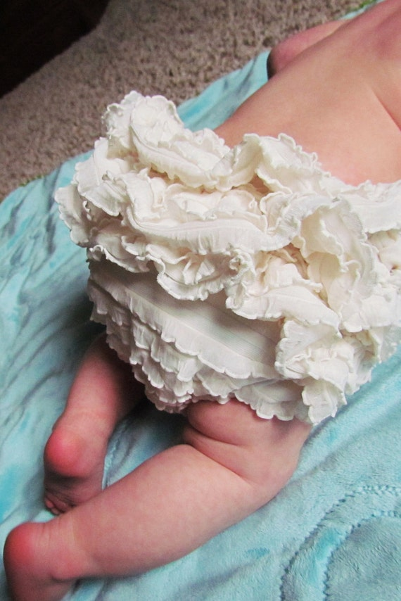 0-6, 6-12, 12-18 month Ivory Ruffle Diaper Cover