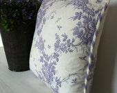 Handmade Vintage Style Purple Toile Cushion Cover
