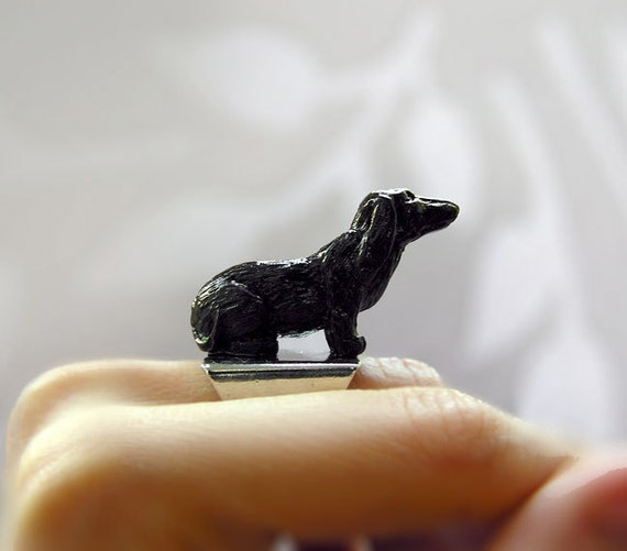 "Handmade Ring ""Friendly Dog"" Black, for pet lovers"