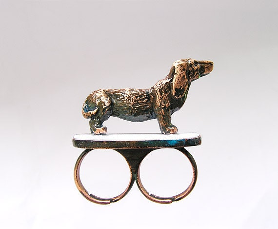 Double ring Cuprum Dog 2. Handmade (Copper), for pet lovers, jewelry dog sculpture, dog ring, brass knuckles