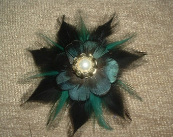 BLACK and TEAL FEATHERS Hair Clip Barrette