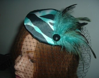 Blue, Black and White Zebra Print Hat with Feathers and Veil