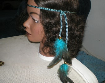 TURQUOISE HIPPIE STYLE Headband with Black Turquoise Feathers