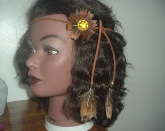 BROWN HIPPIE STYLE Headband with Feathers