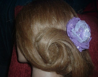 Purple/Silver Chiffon and Organza Flower Rose Hair Clip