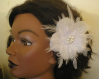 WHITE, IVORY or other Colors BRIDAL Flower with Feathers Hair Clip Barrette
