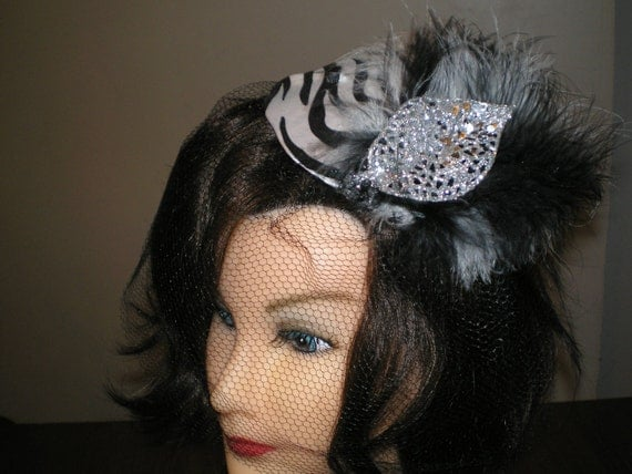 ZEBRA PRINT and BLACK and White Feathers Cocktail Hat with  Veil