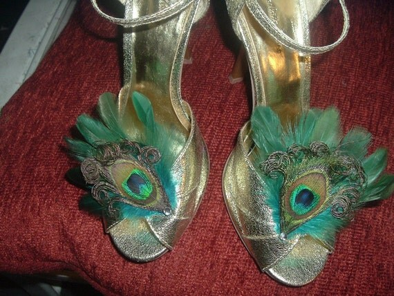 TEAL and PEACOCK FEATHERS Shoe Clips